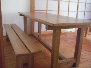 総桐テーブル ベンチ